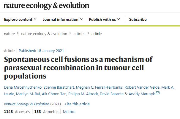 """癌细胞""""强强联手"""",自发性细胞融合扩大肿瘤内的遗传多样性"""